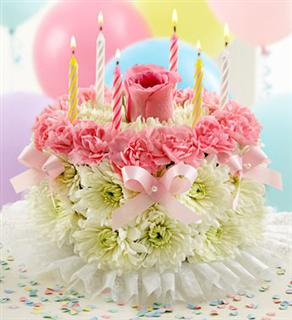 The Birthday Flower cake at Flowers and More San Antonio Flowers